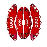 4pcs Red ABS Colors Universal Auto 3D Word Style Disk Brake Caliper Covers Front & Rear Size m + L For Large SUV Highlander