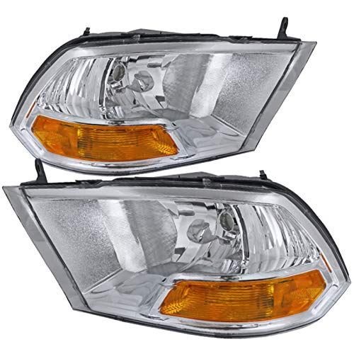 Carpartsinnovate For 09-19 Dodge Ram 1500 2500 3500 Pickup Clear Headlights+Corner Signal Lamps Pair