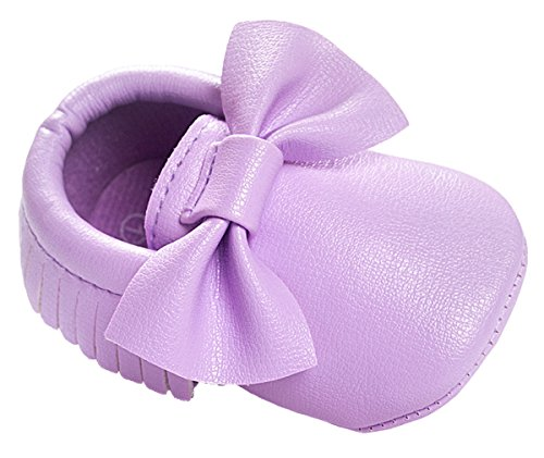 Vanbuy Baby Girl Soft Sole Shoes Cute Bow Tassel Moccasins Infant Toddler Crib Shoes WB01-Light Purple-M