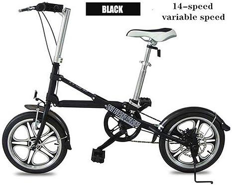 MEICHEN Bicicleta Plegable de 14 Pulgadas Plegable Conveniente del Freno de Disco portátil Sola Velocidad Variable Bicicleta Mini Viajes de Peso Ligero,Black14speed: Amazon.es: Deportes y aire libre