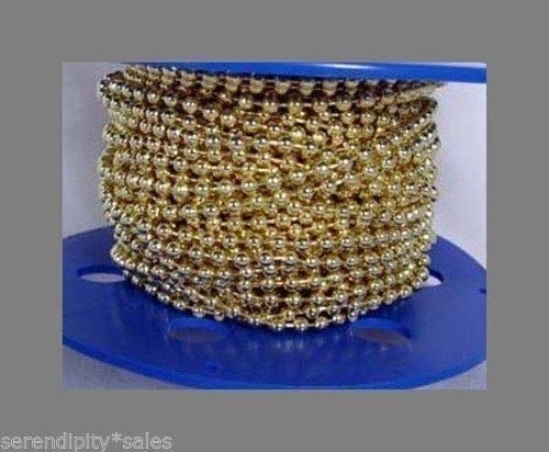 25 Feet 3.2Mm Brass Plated Steel Ball Chain #6 + 25 Connectors Bulk ~ Fan Pulls