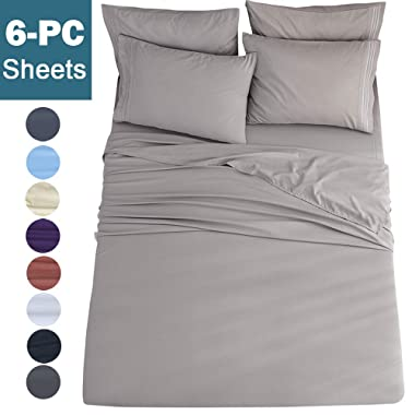 Shilucheng Queen Size 6-Piece Bed Sheets Set Microfiber 1800 Thread Count Percale | 16 Inch Deep Pockets | Super Soft and Comforterble | Wrinkle Fade and Hypoallergenic(Queen, Grey)