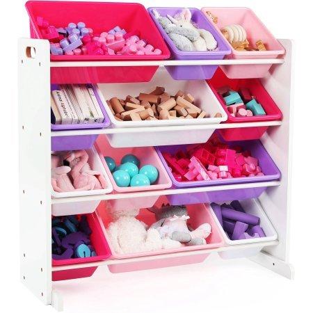 Sturdy Heavy-Duty Kids Great Toy Storage Alternative Organizer with 12 Plastic Bins in Pink/Purple by Unbranded*