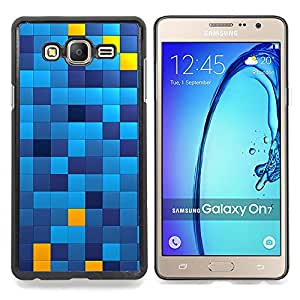 Pattern Chechkered Yellow Blue Squares Caja protectora de pl??stico duro Dise?¡Àado King Case For Samsung Galaxy On7 G6000