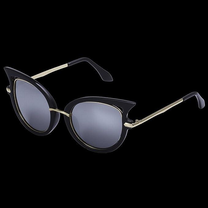 Mode Trend Gläser Katze Auge Sonnenbrille , Schwarz-Weiß-Rahmen-Quecksilber