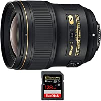 Nikon AF-S NIKKOR 28mm f/1.4E ED Lens (20069) with Sandisk Extreme PRO SDXC 128GB UHS-1 Memory Card, Up to 95/90MB/s Read/Write Speed