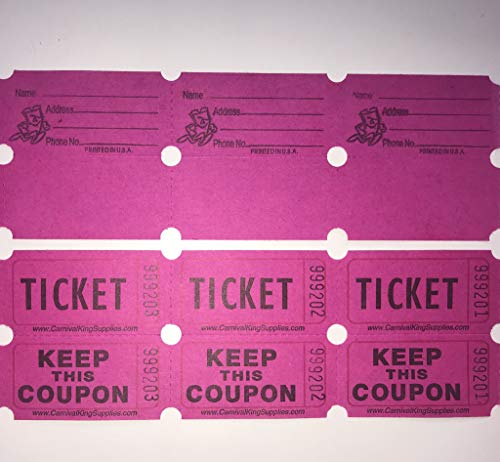 Pink Raffle Tickets - fb 100 Hot Pink Colored Raffle Tickets Double Roll 50/50 Carnival Fair Split The Pot One Hundred Consecutively Numbered Fundraiser Festival Event Party Door Prize Drawing Perforated Stubs