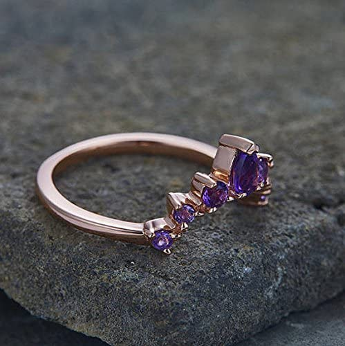 Natural Amethyst Curved Wedding Band Solid 14k Rose Gold Engagement Stacking Matching Ring Vintage Gift