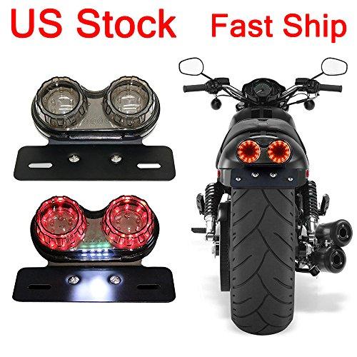 LEAGUE&CO Motorcycle LED Twin Dual Tail Light Turn Signals License Plate Brake Lights For Yamha Ducati KTM Kawasaki