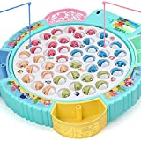 Fishing Game Toy Pole and Rod Fish Board Rotating with Music Includes 45 Fish and 4 Fishing Poles Fine Motor Skill…