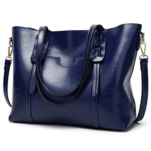 LoZoDo Women Top Handle Satchel Handbags Shoulder Bag Tote Purse (Blue 2)