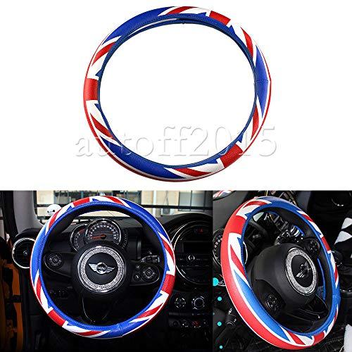 Tuesnut UK Flag Flag Style PU Ra Steering Wheel Cover 15'' Diameter for Mini Cooper S R52 R53 R54 R56 R57 R58 Steering Wheel ()