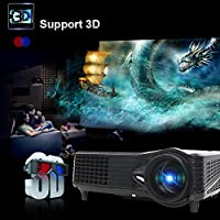 Lightinthebox1080p 3D Multimedia LED 3000 Lumens LCD Full HD Projector, Cinema Theater Projector, for Business Movie PC Laptop HDMI USB VGA TV Port, Movie Game Effect Built-in Speaker