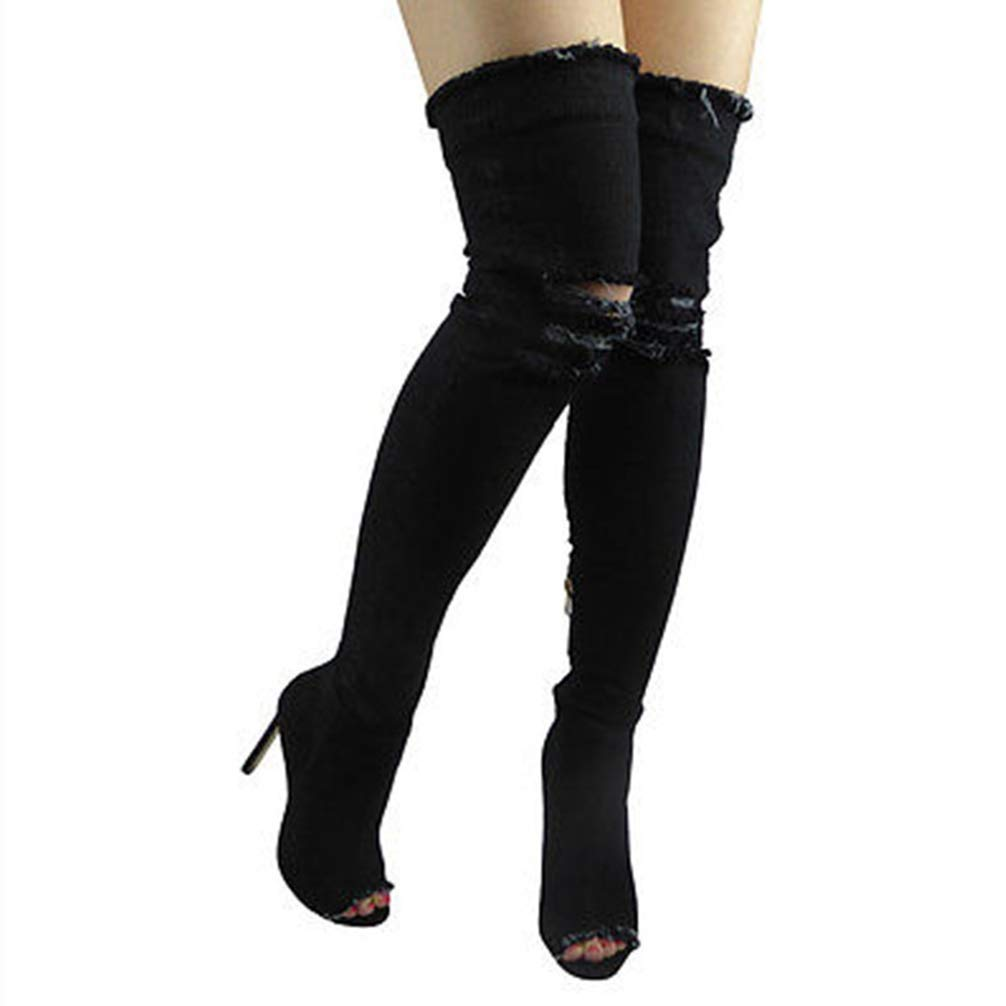 T-JULY Women Summer Thin High Heels Jeans Over The Knee Boots Fashion Thigh High Boots Peep Toe Shoes Black