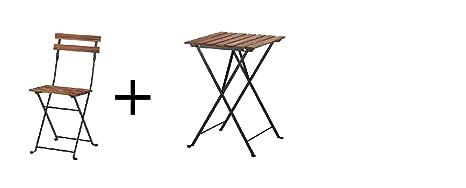 Ikea silla, al aire libre, plegable negro de Acacia, gray ...