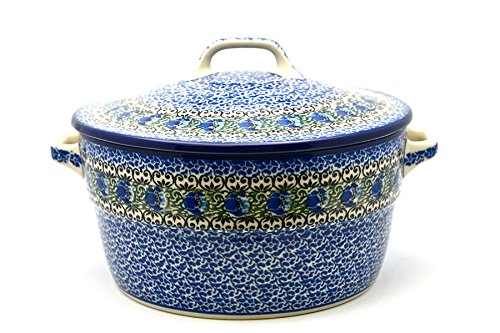 (Polish Pottery Baker - Round Covered Casserole - Peacock)