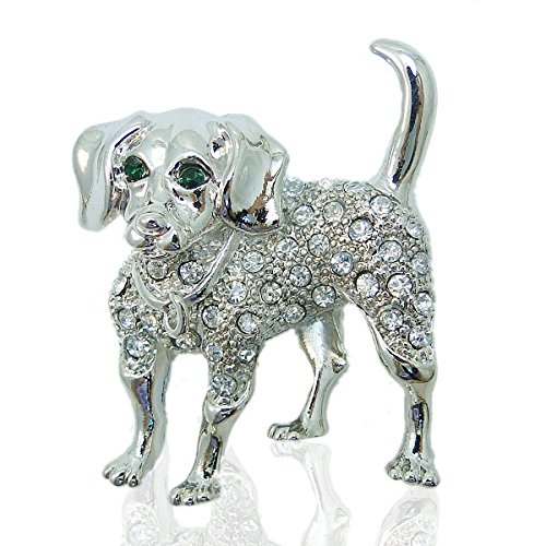 EVER FAITH Austrian Crystal Dog Brooch Silver-Tone Clear