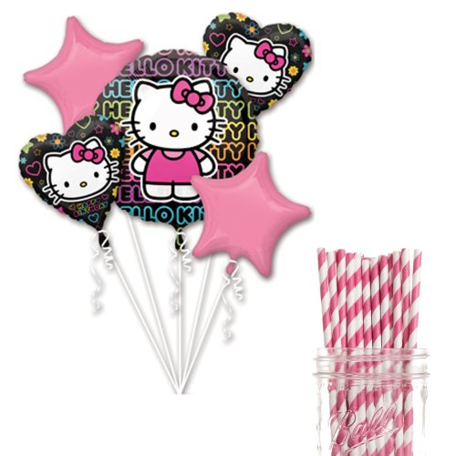 Dress My Cupcake Party Decoration Kit with Straws and Balloons, Hello Kitty Tween Birthday Party -