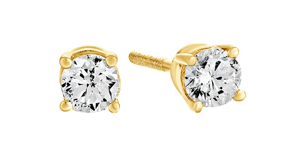 10K Solid Yellow Gold Natural Diamond Solitaire Stud Earrings With Screw Back (0.5 Ct) Free & Fast Shipping