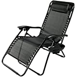 Sunnydaze Black Outdoor Oversized Zero Gravity Lounge Chair with Pillow and Cup Holder