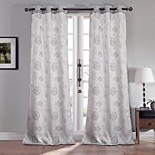 RT Designers Collection Laurel Jacquard 72 x 84 in. Grommet Curtain Panel Pair (Set of 2), Silver