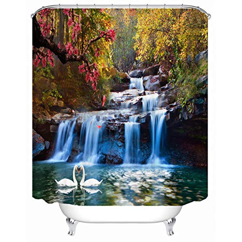 Leaf Waterfalls Copper (Red Fire 72 x 72 Inch Swans Playing in The Water Printed Waterproof Shower Curtain for Bathroom with 12 Hooks)