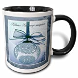3dRose Beverly Turner Christmas Other Languages - Kellemes Karacsonyi unnepeket, Merry Christmas in Hungarian, Lace - 11oz Two-Tone Black Mug (mug_37017_4)