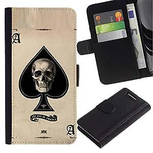 All Phone Most Case / Oferta Especial Cáscara Funda de cuero Monedero Cubierta de proteccion Caso / Wallet Case for Sony Xperia Z1 Compact D5503 // Ace Spades Skull Black Poker Cards