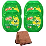 Gain Flings Laundry Detergent Pacs, Original Scent, 81 count, 4-Pack with Cleaning Cloth