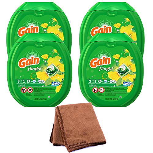 Gain Flings Laundry Detergent Pacs, Original Scent, 81 count, 4-Pack with Cleaning Cloth by .Gain.