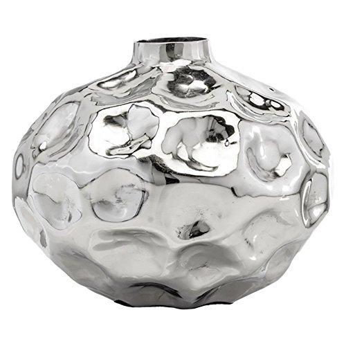 (Modern Day Accents 6223 Abollado SM Squat Silver Vase)