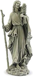 Napco Jesus Holding Lamb Pewter Grey 14 inch Resin Stone Collectible Figurine