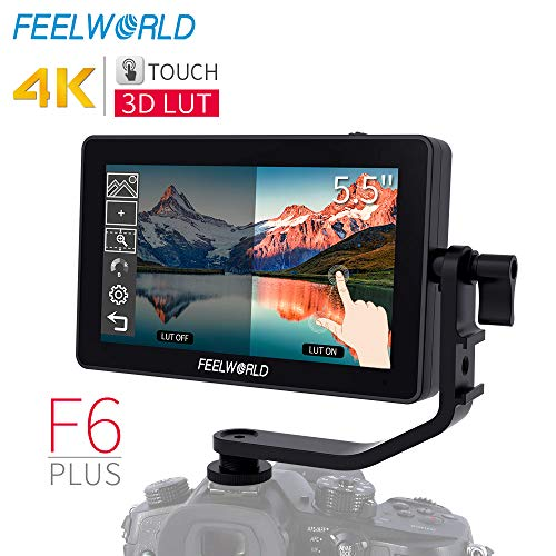 FEELWORLD F6 Plus 5.5 inch DSLR Camera Field Touch Screen Monitor with 3D Lut Small Full HD 1920×1080 IPS Video Peaking Focus Assist 4K HDMI 8.4V DC Input Output Include Tilt Arm