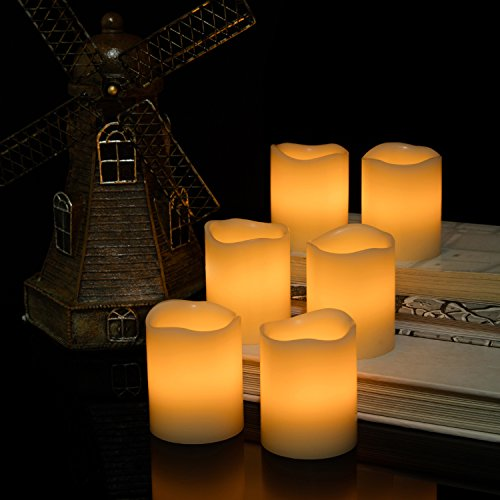 Kohree Flameless Candles Light LED Candles with Built-in Daily-Cycle Timer, Outdoor Battery Operated Led Real Wax Candles Light, Pillar Candle, Warm White Pack of 12 by Kohree (Image #5)'