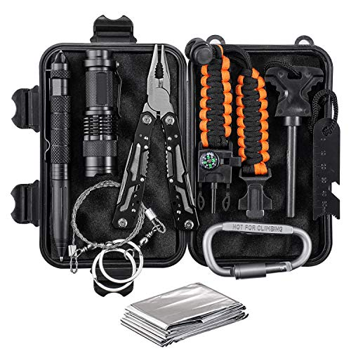 Survival Kit - Survival Gear with Multitool, Tactical Flashlight, 550 Paracord Bracelet, Emergency Blanket, Wire Saw, Water Bottle Clip - Camping, Hiking, Hunting etc Outdoor Activities