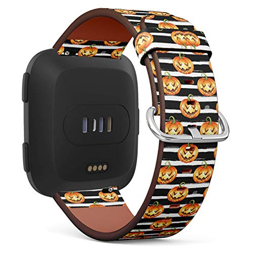 (Replacement Leather Strap Printing Wristbands Compatible with Fitbit Versa - Halloween?Pumpkins on Stripes)