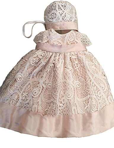 Aorme Champagne Pink Lace Christening Gowns for Girls Baptism Dress 0-24 Months]()