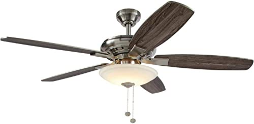 Hampton Bay Menage 52 in. Integrated LED Indoor Low Profile Brushed Nickel Ceiling Fan