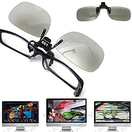 Clip en las gafas 3D polarizadas circular miopía lente de ojo de TV Cine la película
