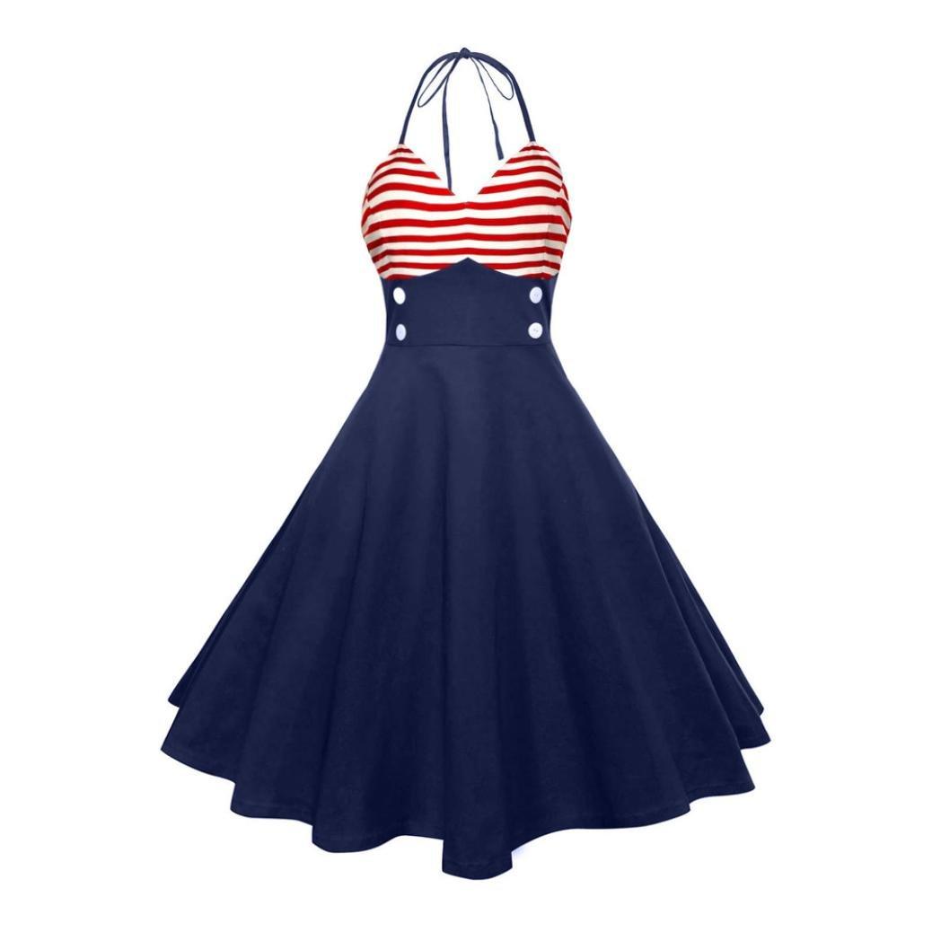 Sommerkleid Chic ärmellos Neckholder Rockabilly 50er Vintage Retro Kleid Petticoat Faltenrock (XL, Marine)