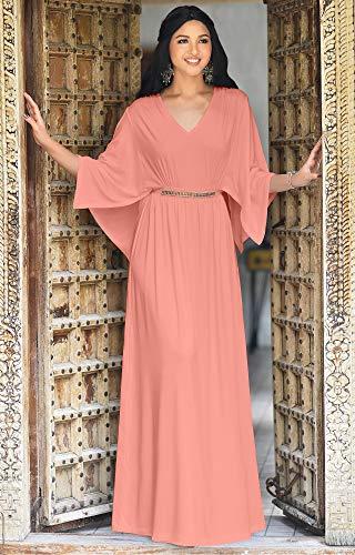 281c2355aef ... KOH KOH Womens Long Elegant V-Neck Batwing Sleeve Cocktail Kaftan Maxi  Dress ...