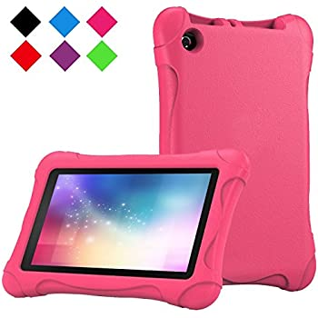 2017 All-New Fire 7 Case - LTROP Portable Shock Proof Fire 7 Tablet Case for Kids (7th Generation, 2017 Release) - Rose