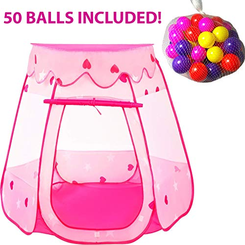 Castle Ball Pit - Playz Ball Pit Princess Castle Play Tents for Girls w/ Glow in The Dark Stars & 50 Balls - Pop Up Children Play Tent for Indoor & Outdoor Use Beautiful Playland Playhouse Tent w/ Zipper Storage Case
