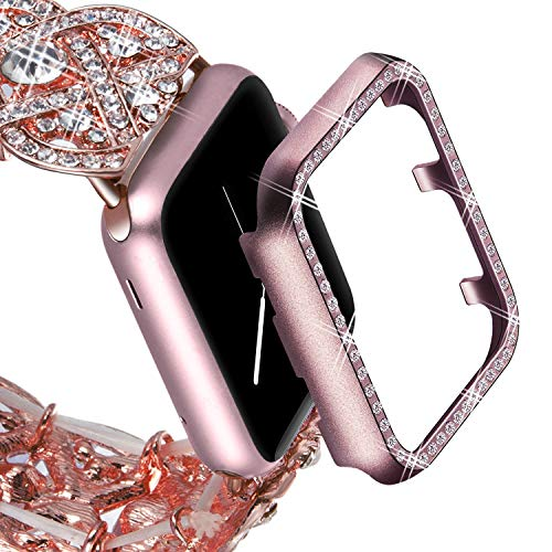 (VIQIV Bling Protective Face Bumper Case Cover for Compatible with Apple Watch 38mm 42mm 40mm 44mm, Crystal Diamond Plate Frame Compatible with Apple iWatch Series 4 3 2 1 Rose)