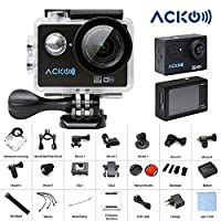"Acko 4K Wifi Sports Action Ultra HD Digital Camera Camcorder DV 12MP High Speed Image 720 Degrees Wide Angle 2"" LCD Screen 2.4G Remote Control/2x 1050mAh Rechargeable Batteries/Mounting Kits"