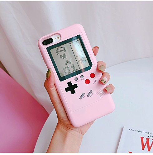 Pink Game Boy Case with Real Games for iPhone 7Plus 7+ 8Plus 8+ Large Size  Hard Plastic Material 3D Cartoon Shockproof Protective Cool Fun Cute Lovely