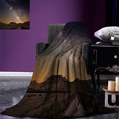 smallbeefly Night Digital Printing Blanket Milky Way over Desert of Bardenas Spain Ethereal View Hills Arid Country Summer Quilt Comforter Plum Apricot Chocolate by smallbeefly
