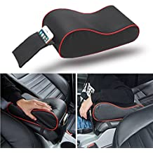 Jisoncase Universal Memory Form Car Armrest Center Consoles Cushion Cover Pad Protector with Side Pocket for Honda Civic Accord, Toyota Camry(Black+Red)