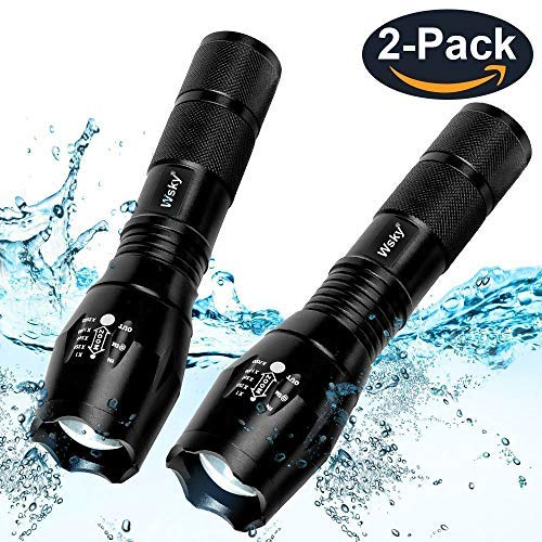 - Wsky LED Flashlight, S1800 Powerful Waterproof Flashlight With High Lumen, Zoomable, 5 Modes, Handheld Light, Perfect for Camping Biking Dog Walking Emergency