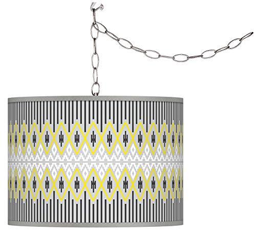 Desert Geometric Giclee Glow Plug-in Swag Pendant - Giclee Glow